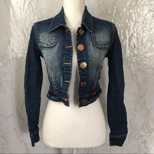 Baby phat half red snake skin jean jacket size XS